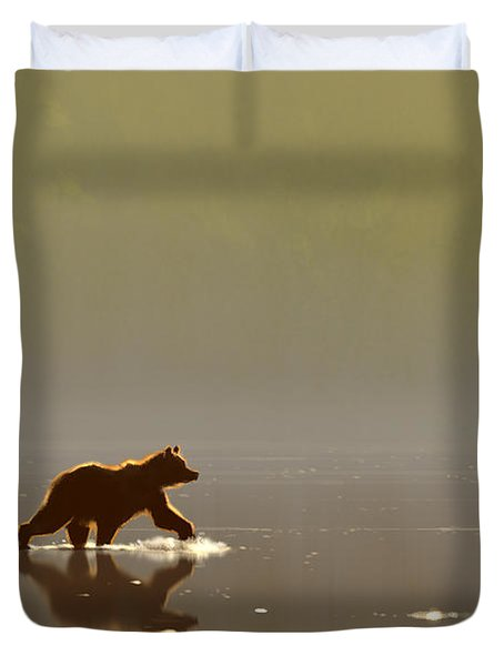 Back Lit Grizzly Duvet Cover