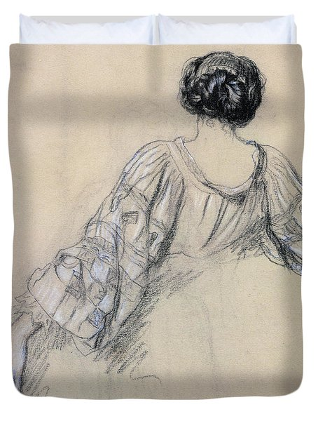 Back Of A Young Woman Duvet Cover by Antoine Auguste Ernest Herbert