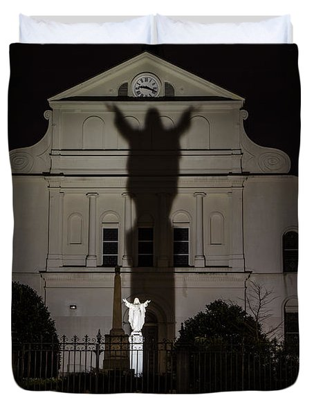 Back Of St Louis Cathedral In New Orleans Duvet Cover