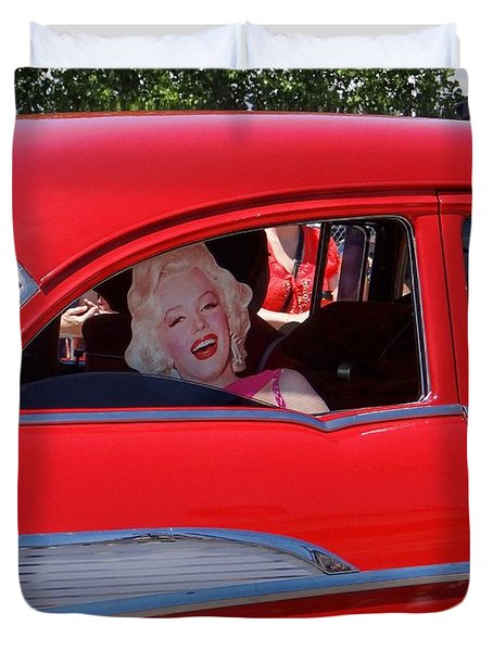 Duvet Cover featuring the photograph Back Seat Marilyn by Ed Weidman