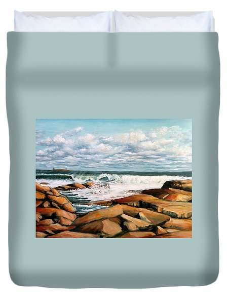 Back Shore Gloucester Duvet Cover by Eileen Patten Oliver