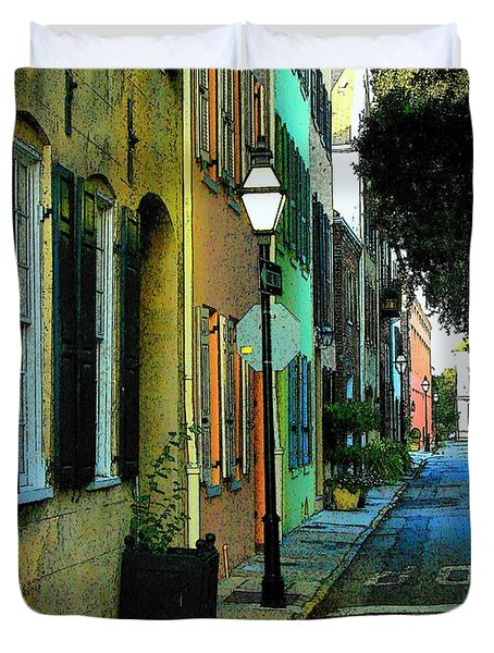 Duvet Cover featuring the photograph Back Street In Charleston by Rodney Lee Williams