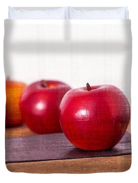 Back To School Apples Duvet Cover