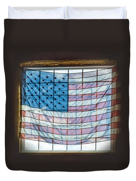 Backlit American Flag Duvet Cover by Photographic Arts And Design Studio