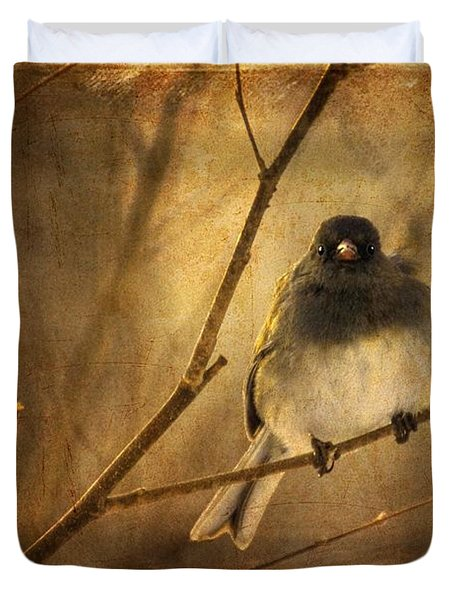 Backlit Birdie Being Buffeted  Duvet Cover