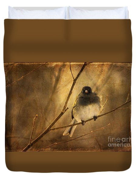 Backlit Birdie Being Buffeted  Duvet Cover