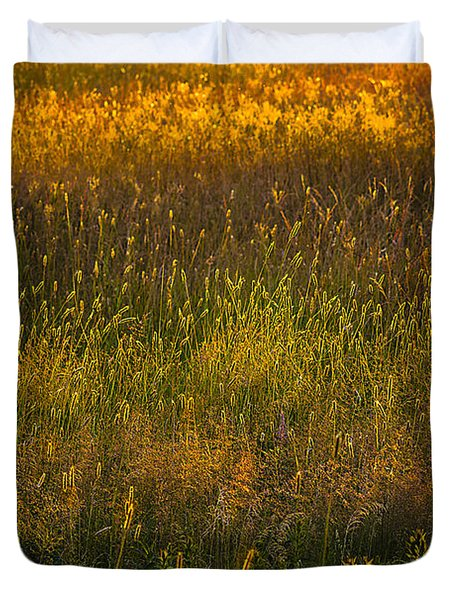 Duvet Cover featuring the photograph Backlit Meadow Grasses by Marty Saccone