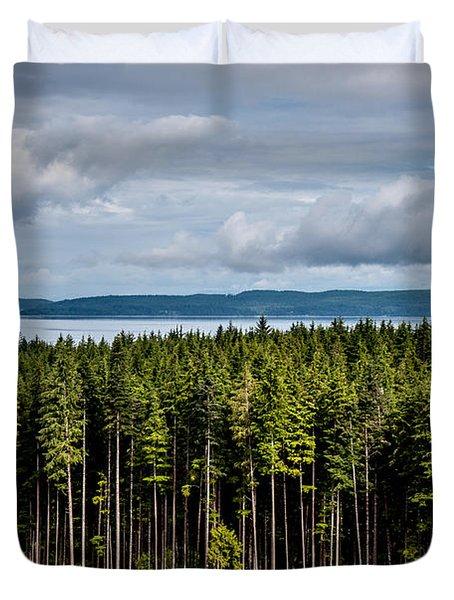 Logging Road Landscape Duvet Cover