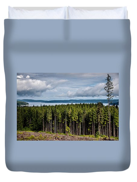 Logging Road Landscape Duvet Cover