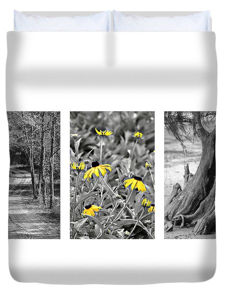Backwoods Escape Triptych Duvet Cover by Carolyn Marshall