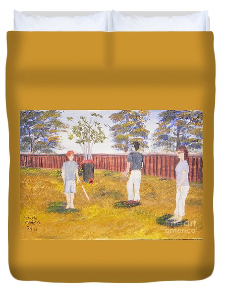 Duvet Cover featuring the painting Backyard Cricket Under The Hot Australian Sun by Pamela  Meredith