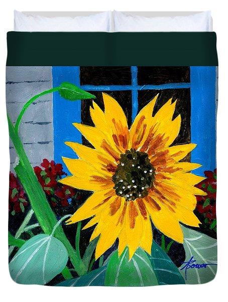 Backyard Flowers  Duvet Cover