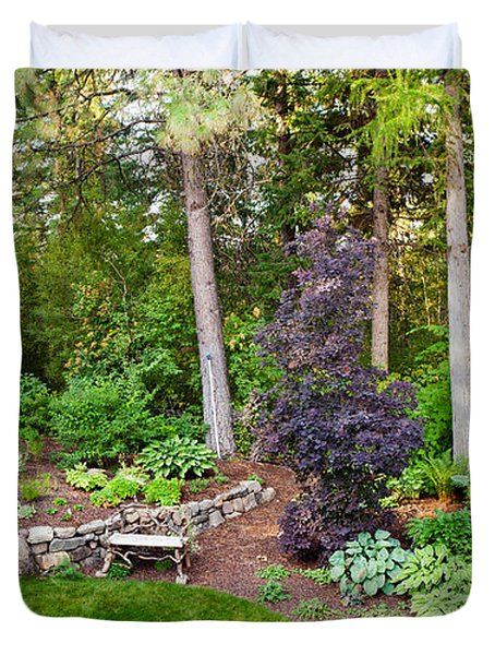 Backyard Garden In Loon Lake, Spokane Duvet Cover by Panoramic Images