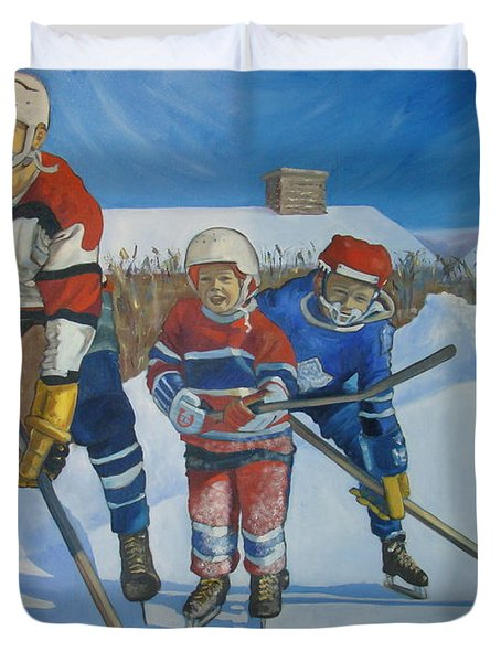 Backyard Ice Hockey Duvet Cover by Christina Clare