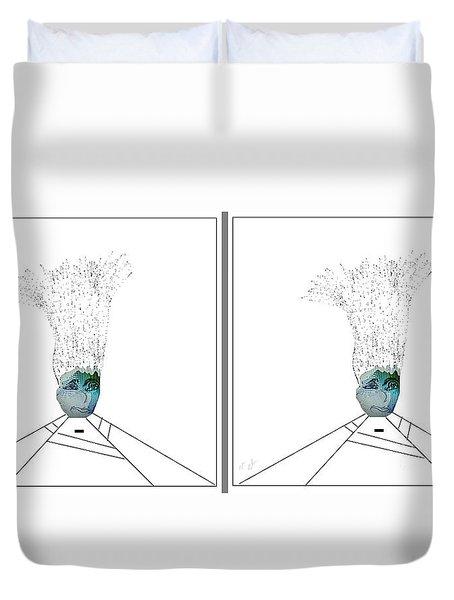 Duvet Cover featuring the digital art Bad Hair Day by Ann Calvo
