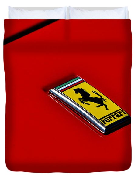 Badge In Red Duvet Cover by Dean Ferreira