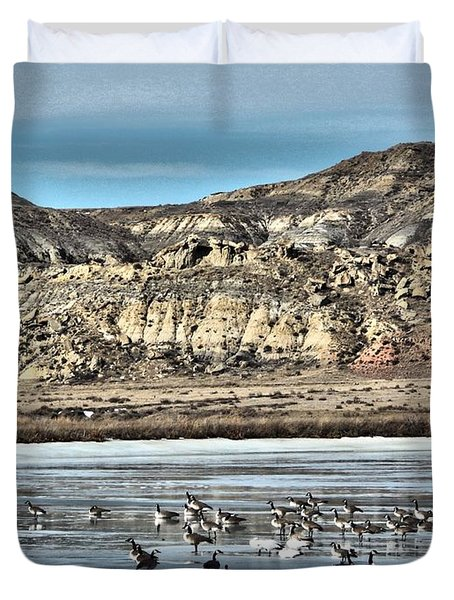 Duvet Cover featuring the digital art Badlands Spring Thaw by Aliceann Carlton