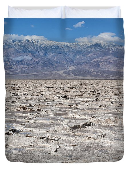 Badwater Basin - Death Valley Duvet Cover by Sandra Bronstein