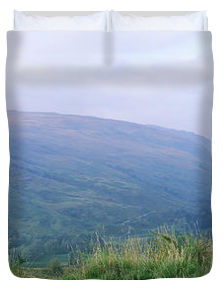 Bagpiper At Loch Broom In Scottish Duvet Cover