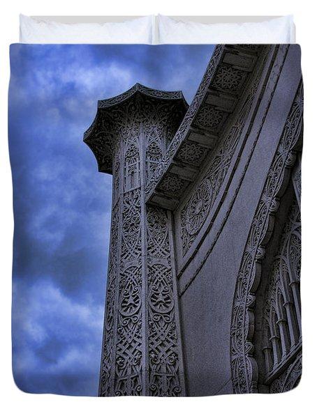 Duvet Cover featuring the photograph Bahai Temple Detail At Dusk II by John Hansen