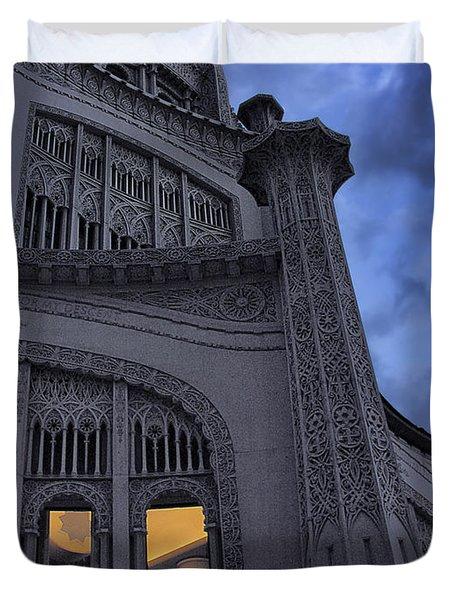 Duvet Cover featuring the photograph Bahai Temple Detail At Dusk by John Hansen