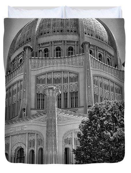 Bahai Temple Wilmette In Black And White Duvet Cover