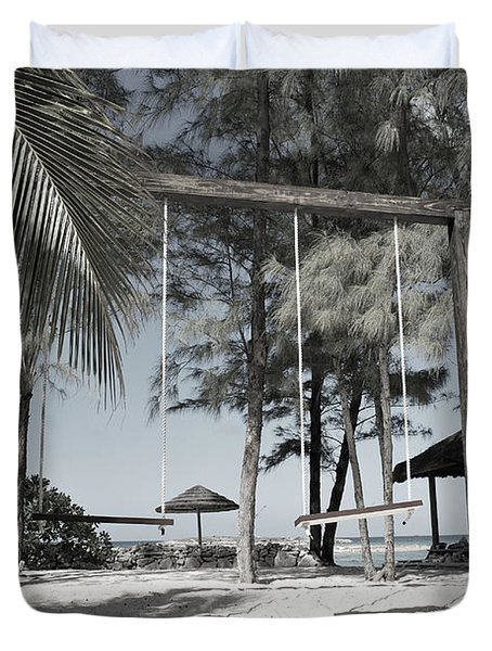 Duvet Cover featuring the photograph Bahamas Swings by Bob Sample