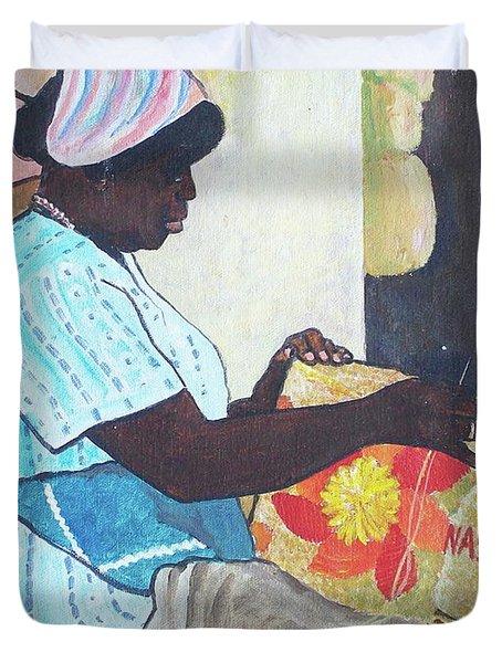 Bahamian Woman Weaving Duvet Cover