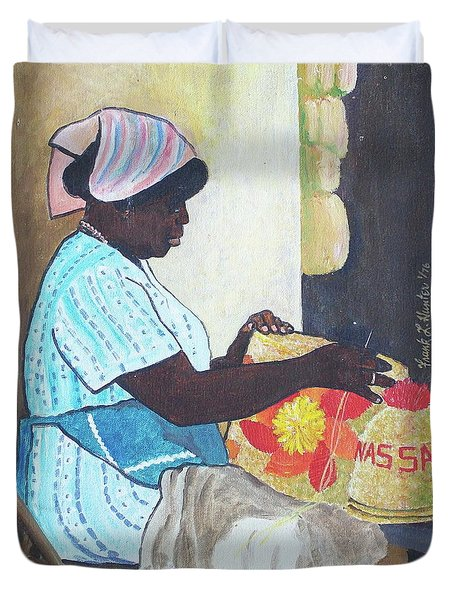 Bahamian Woman Weaving Duvet Cover by Frank Hunter