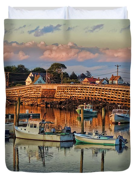 Bailey Island Bridge At Sunset Duvet Cover by Patrick Fennell