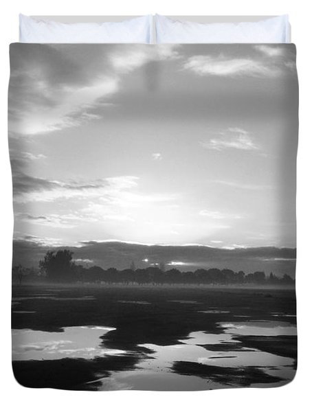 Duvet Cover featuring the photograph Bakersfield In Black And White by Meghan at FireBonnet Art