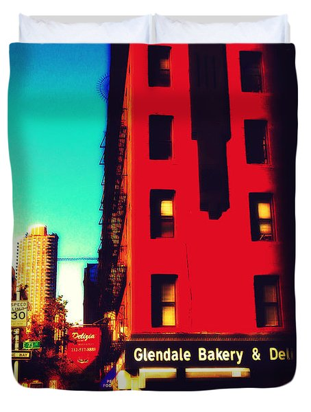 Duvet Cover featuring the photograph The Bakery - New York City Street Scene by Miriam Danar