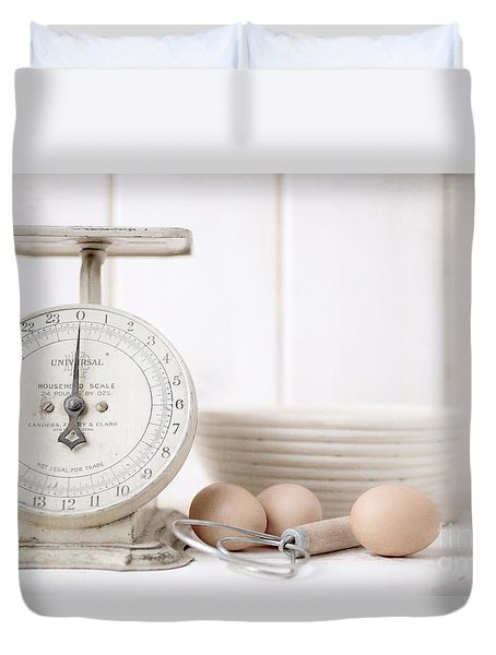 Baking Time Vintage Kitchen Scale Duvet Cover by Edward Fielding