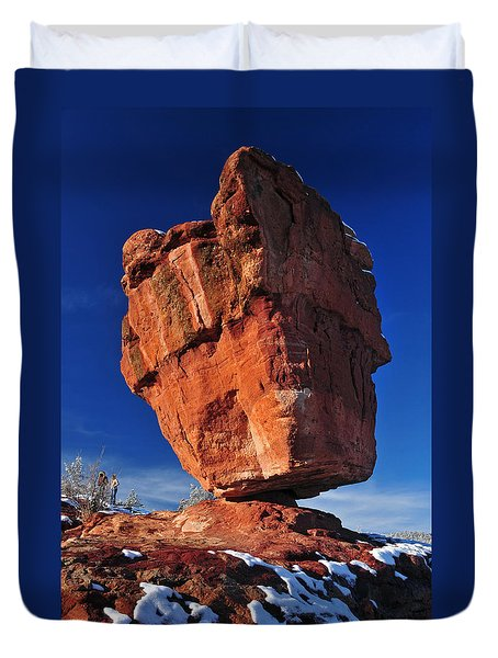 Balanced Rock At Garden Of The Gods With Snow Duvet Cover by John Hoffman