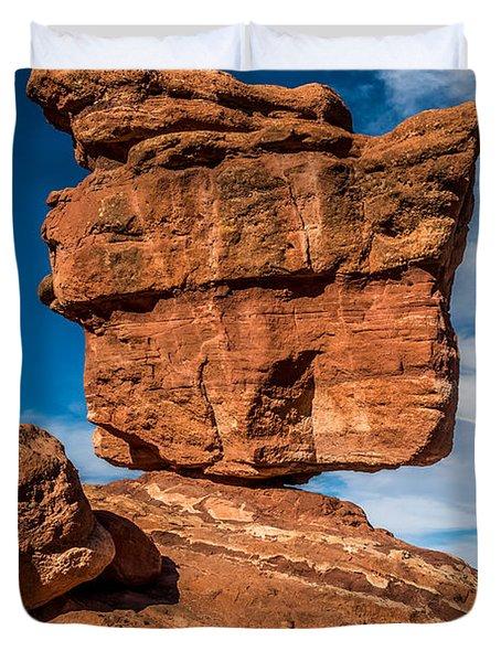 Balanced Rock Garden Of The Gods Duvet Cover by Paul Freidlund