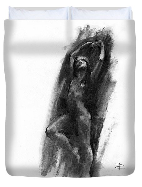 Duvet Cover featuring the drawing A Dance Of Balance by Paul Davenport
