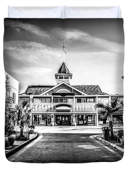 Balboa Pavilion Newport Beach Black And White Picture Duvet Cover by Paul Velgos