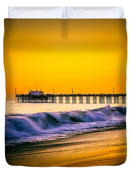 Balboa Pier Picture At Sunset In Orange County California Duvet Cover by Paul Velgos