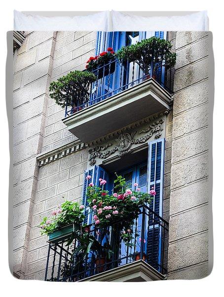 Balconies In Bloom Duvet Cover by Menachem Ganon