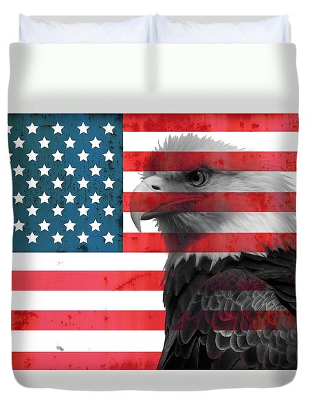 Bald Eagle American Flag Duvet Cover by Dan Sproul