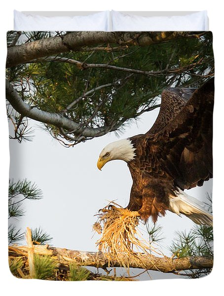 Bald Eagle Building Nest Duvet Cover