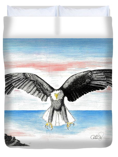 Duvet Cover featuring the drawing Bald Eagle by David Jackson