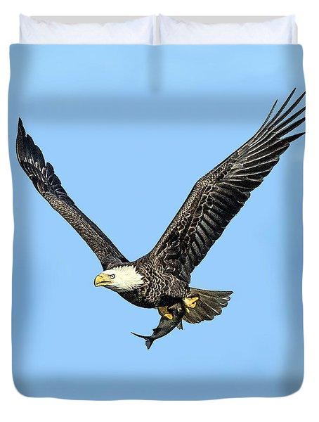 Bald Eagle Flying Holding Freshly Caught Fish Duvet Cover