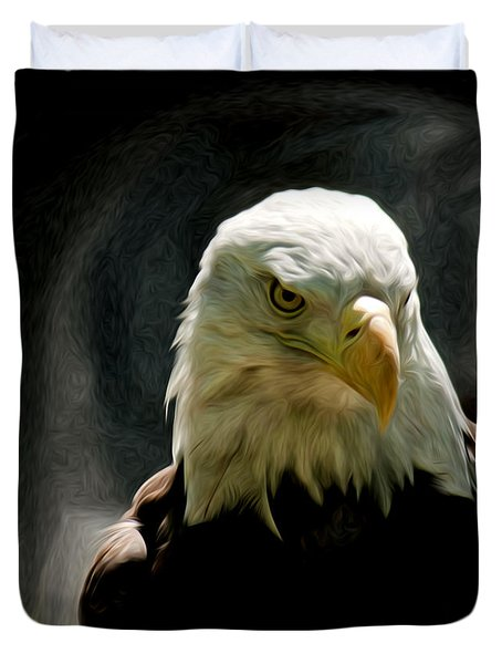 Bald Eagle Giving You That Eye Duvet Cover
