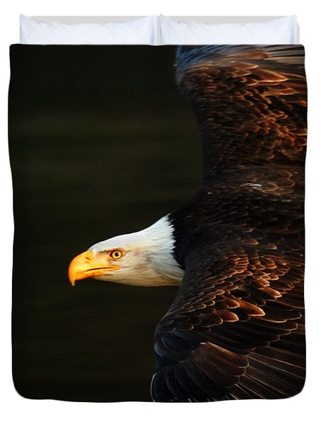 Bald Eagle In Flight Duvet Cover by Bob Christopher