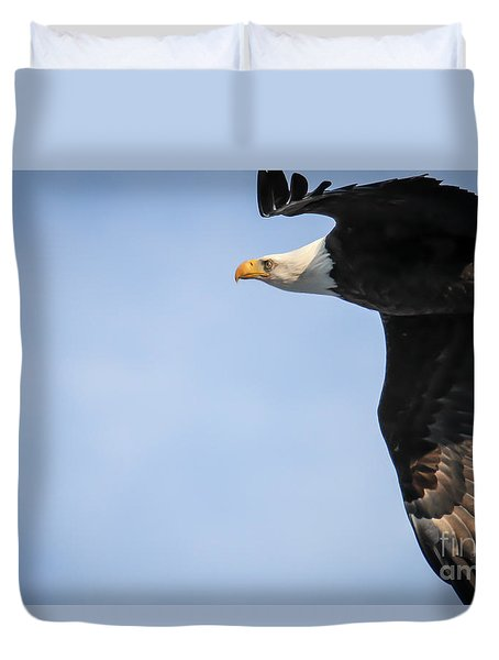 Bald Eagle In Flight Duvet Cover by Eleanor Abramson