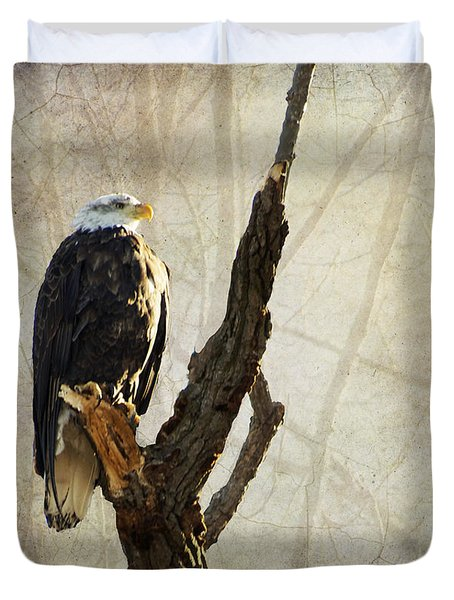 Bald Eagle Keeping Watch In Illinois Duvet Cover by Luther Fine Art