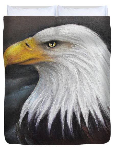 Duvet Cover featuring the drawing Bald Eagle by Patricia Lintner