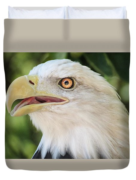 American Bald Eagle Portrait - Bright Eye Duvet Cover by Patti Deters