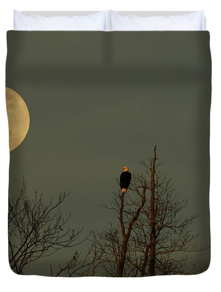 Bald Eagle Watching The Full Moon Duvet Cover by Raymond Salani III